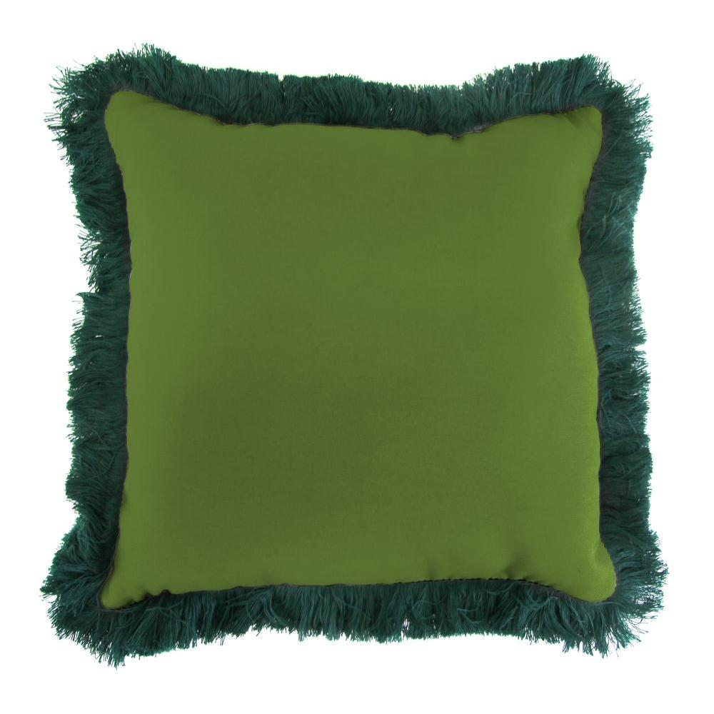 Sunbrella Spectrum Cilantro Square Outdoor Throw Pillow with Forest Green Fringe