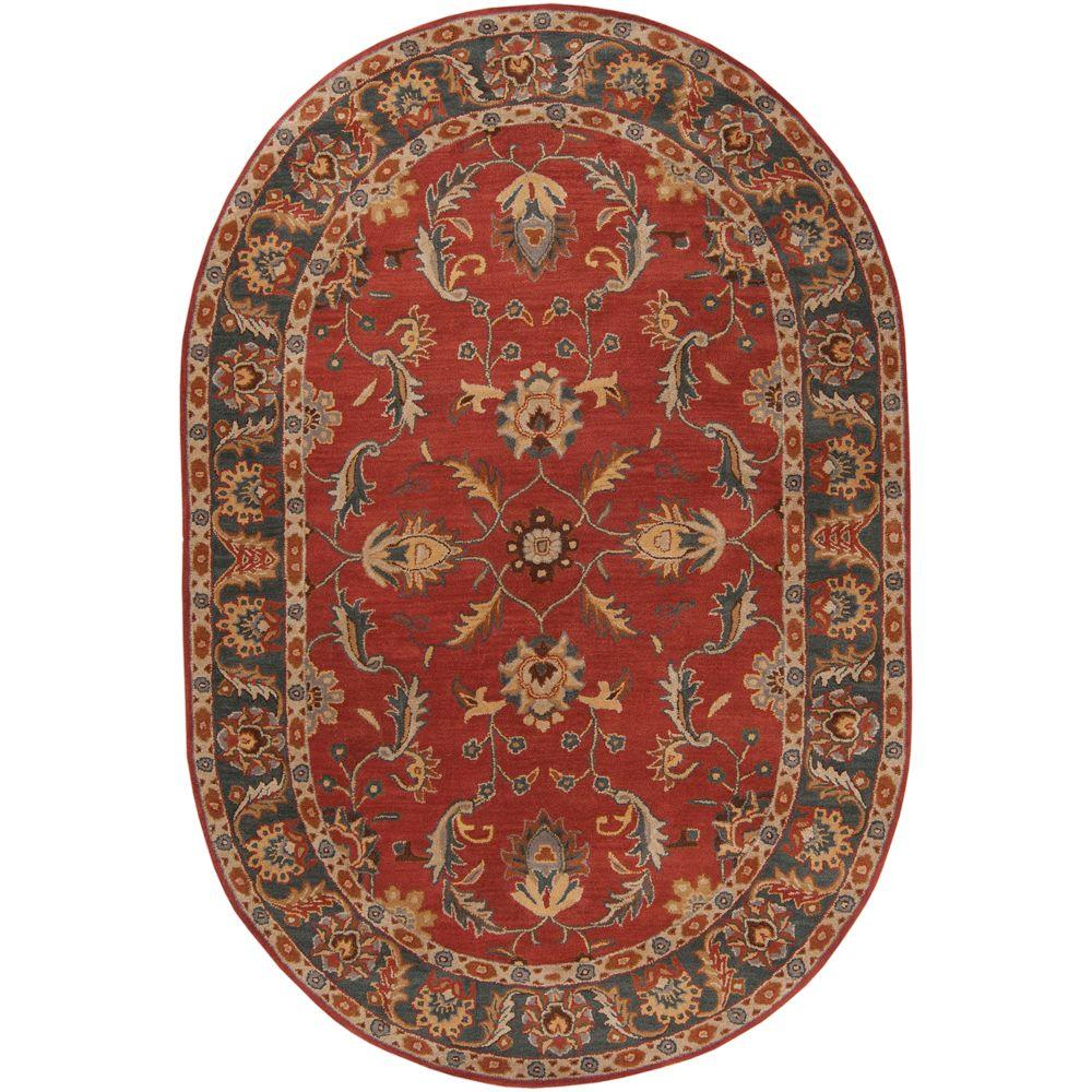 John Rust Red 6 ft. x 9 ft. Oval Area Rug