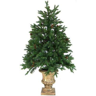 4 ft. Noble Fir Artificial Tree with Metallic Urn Base and Battery-Operated Multi-Colored LED String Lights