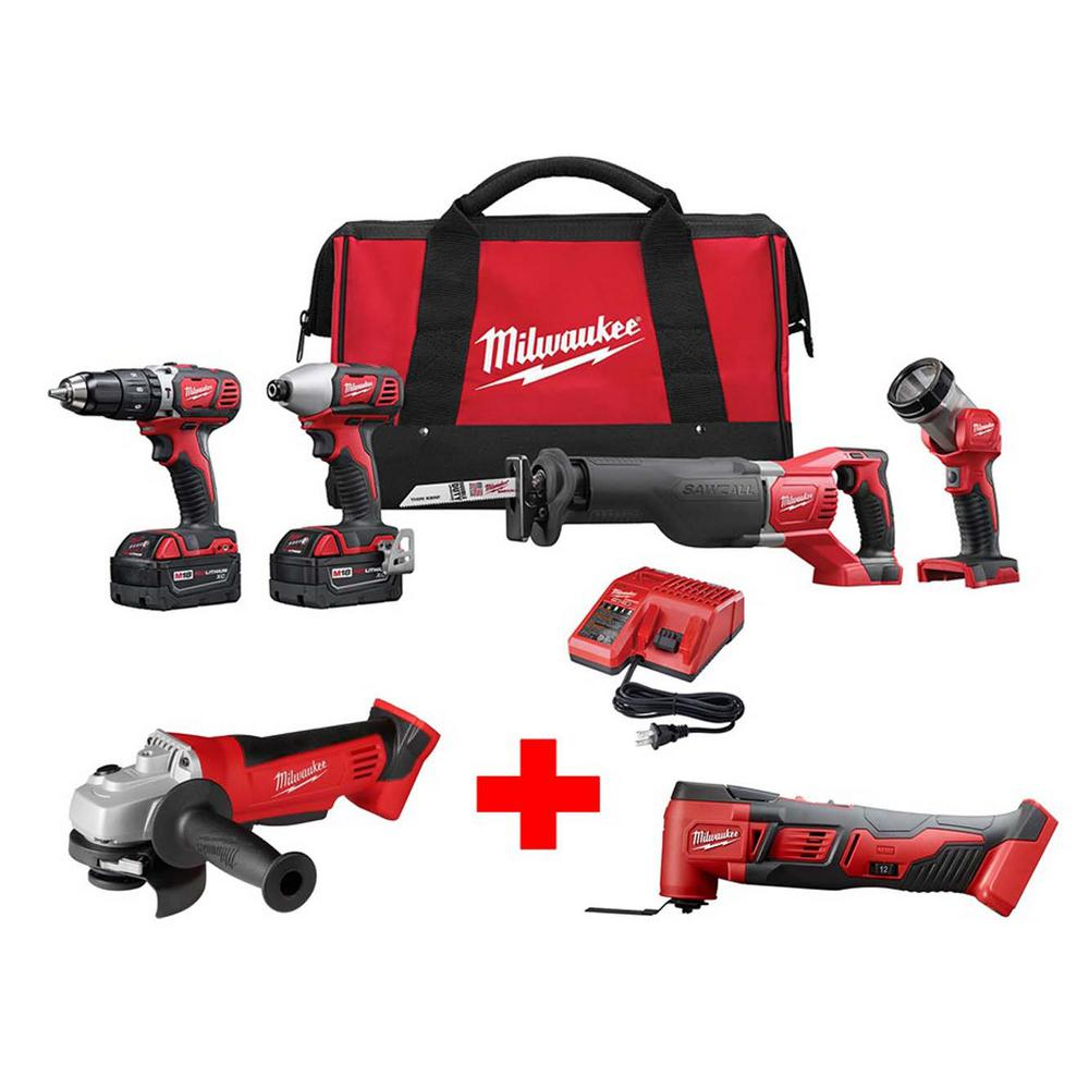Milwaukee M18 18-Volt Lithium-Ion Cordless Combo Tool Kit (4-Tool) with Free M18 Cut-Off/Grinder and Oscillating Multi-Tool