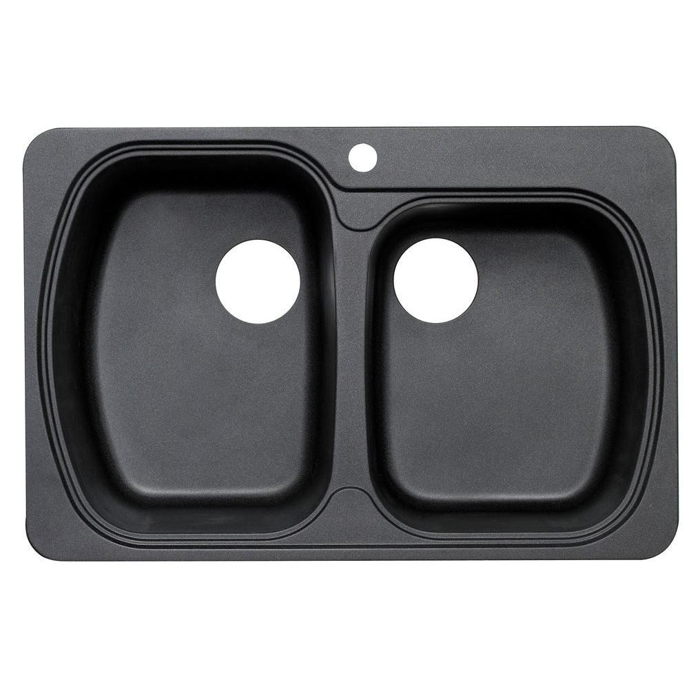 Astracast Premium Offset Dual Mount Granite 33 in. 1-Hole Double Basin Kitchen Sink in Metallic Black