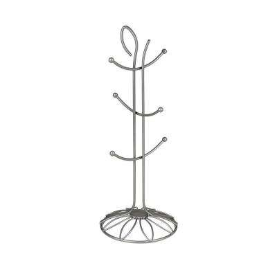 Leaf 6.25 in. W x 6.25 in. D x 16.25 in. H 6-Tier Jewelry Holder in Satin Nickel Powder Coat