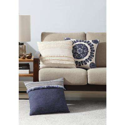 Morgan Home 18 in. Evelyn Blue Fringed Throw Pillow Cover