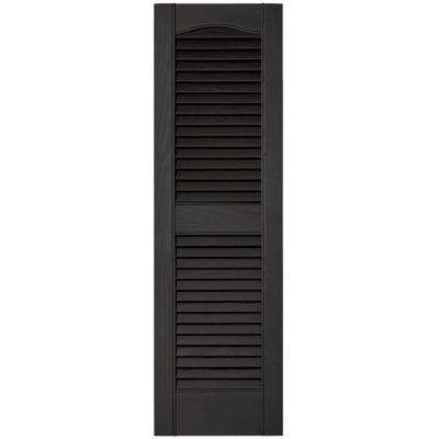 12 in. x 39 in. Louvered Vinyl Exterior Shutters Pair #002 Black