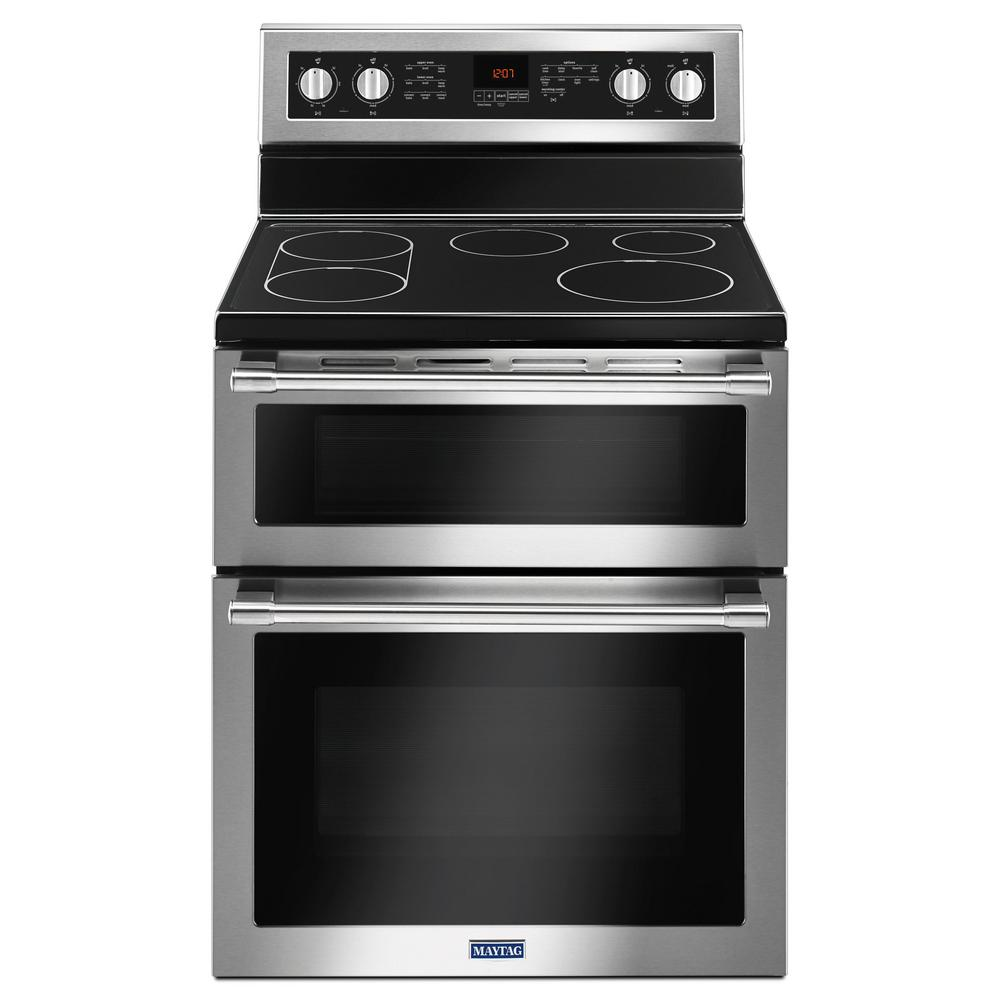maytag 30 in. 6.7 cu. ft. double oven electric range with convection