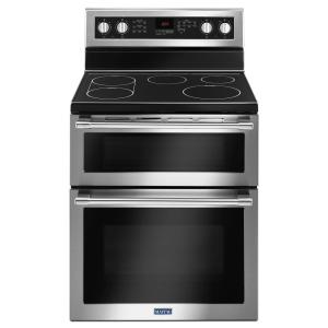 Click here to buy Maytag 30 inch 6.7 cu. ft. Double Oven Electric Range with Convection Oven in Fingerprint Resistant Stainless Steel by Maytag.