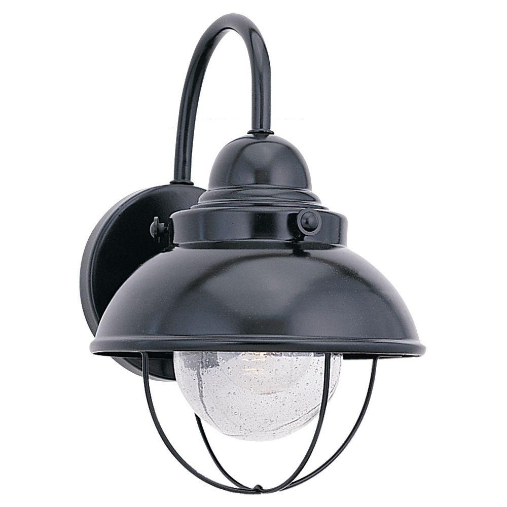 Sea Gull Lighting Sebring 1 Light Black Outdoor 11 25 In Wall Lantern Sconce