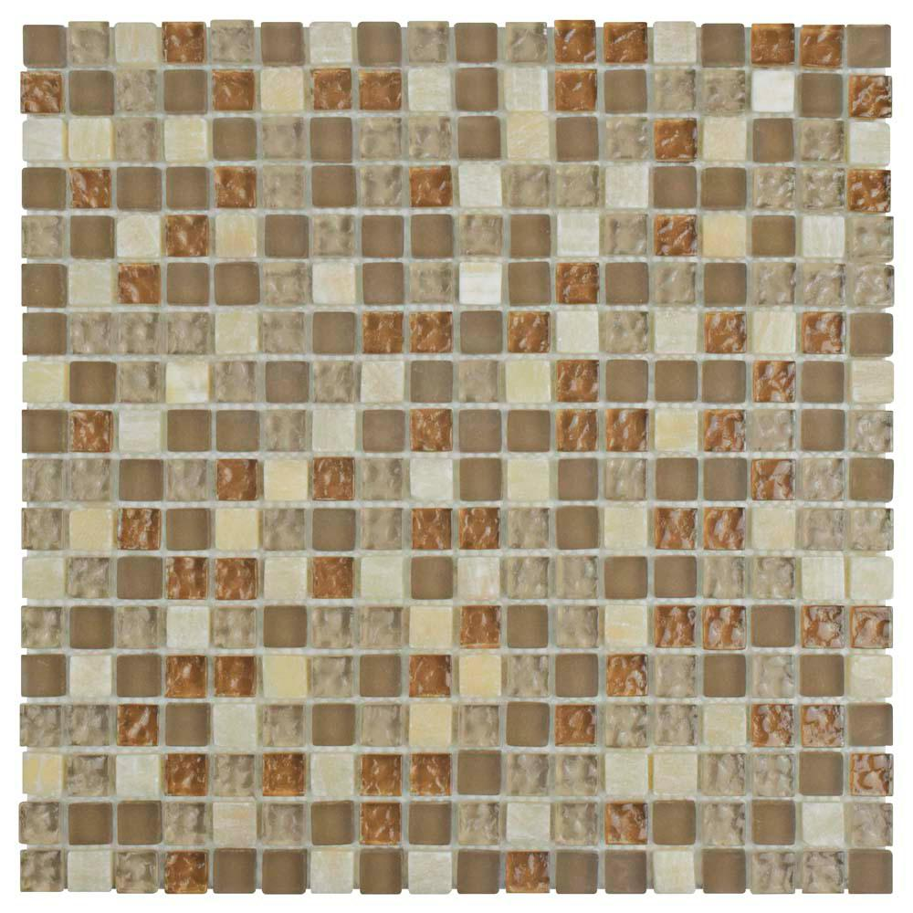 Merola Tile Tessera Mini Amber 11-3/4 in. x 11-3/4 in. x 8 mm Glass and Stone Mosaic Tile
