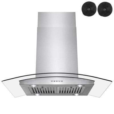 36 in. Convertible Kitchen Island Mount Range Hood in Stainless Steel with Push Control and Carbon Filters