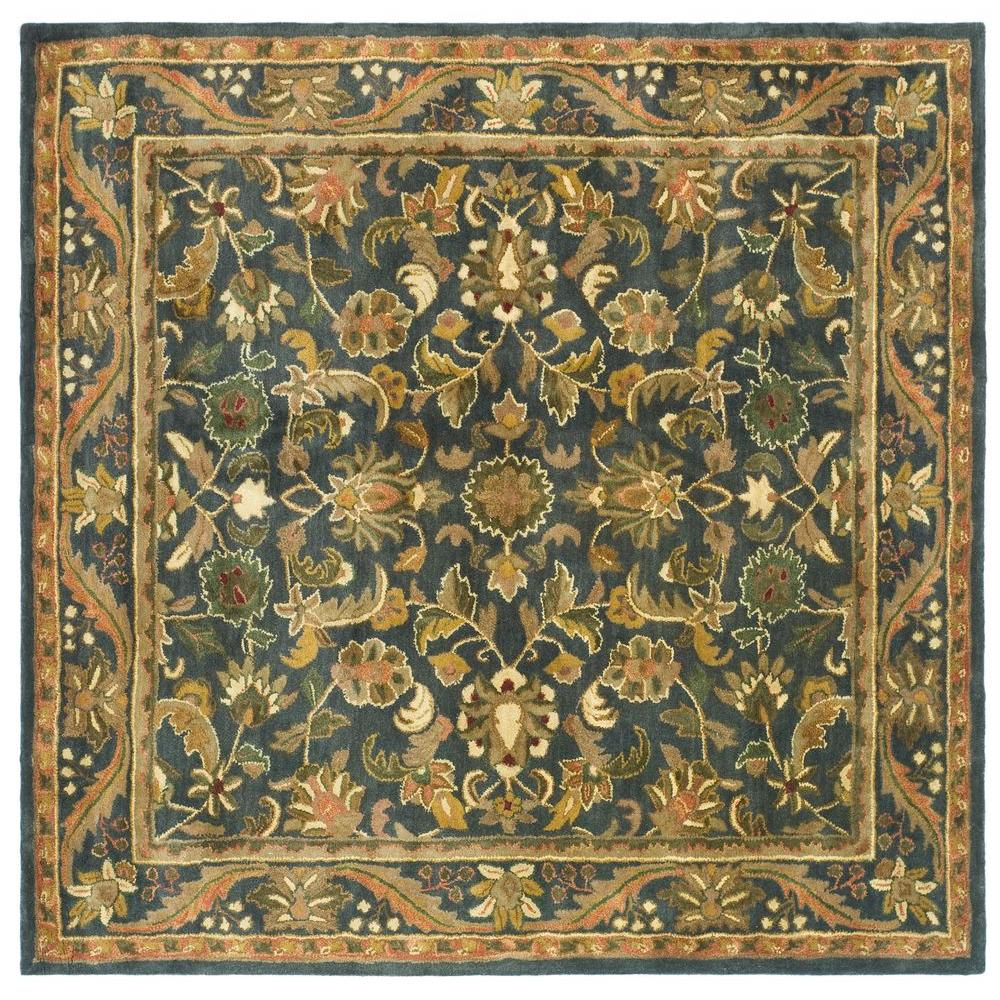 safavieh antiquity blue gold 6 ft x 6 ft square area rug at52c 6sq the home depot. Black Bedroom Furniture Sets. Home Design Ideas