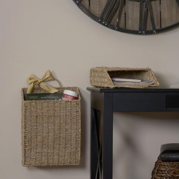 Household Essentials Seagrass Wicker Wall Basket Set ML-5613