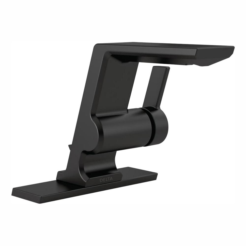 Delta Pivotal Single Hole Single-Handle Bathroom Faucet with Metal Drain Assembly in Matte Black
