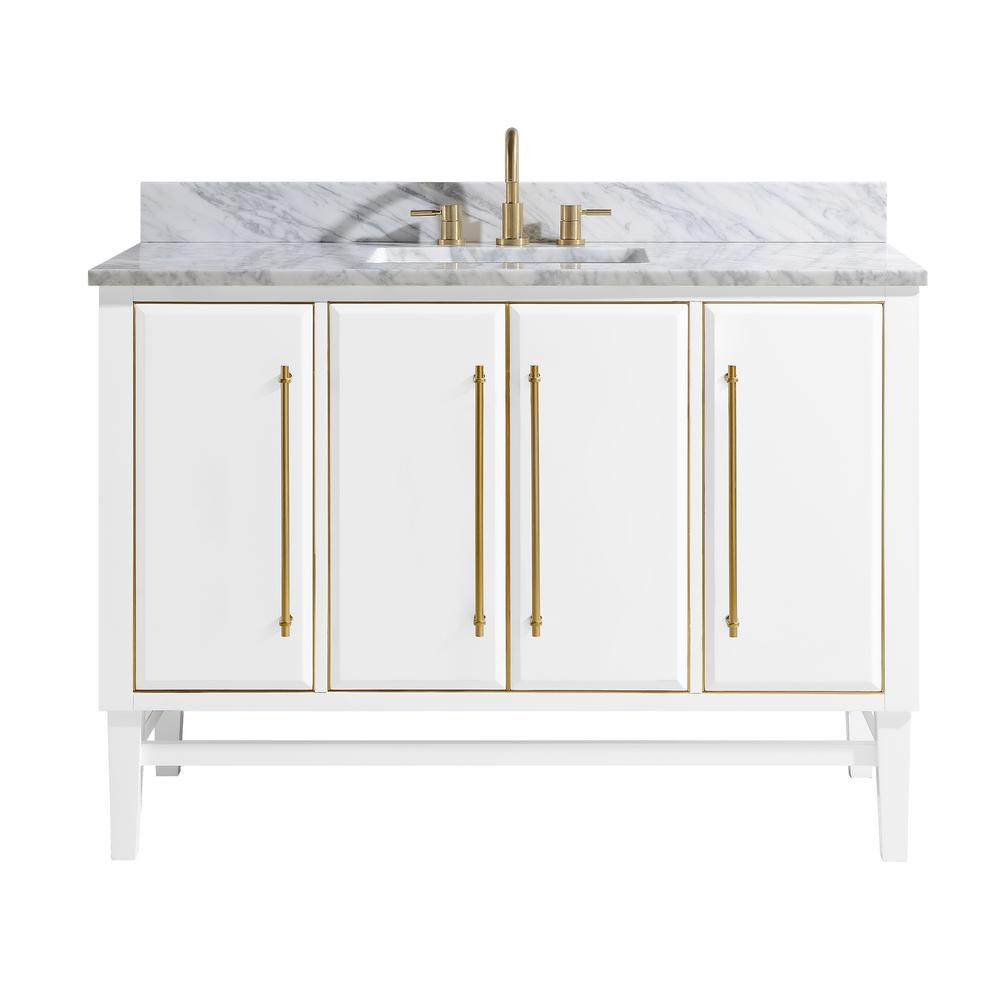 Avanity Mason 49 in. W x 22 in. D Bath Vanity in White with Gold Trim with Marble Vanity Top in Carrara White with White Basin