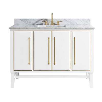 Mason 49 in. W x 22 in. D Bath Vanity in White with Gold Trim with Marble Vanity Top in Carrara White with White Basin