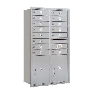 3700 Series 48 in. 13 Door High Unit Aluminum Private Rear Loading 4C Horizontal Mailbox with 14 MB1 Doors/2 PL5's