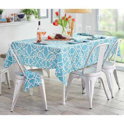 Turquoise Chase Geometric Stain Resistant Indoor Outdoor Tablecloth