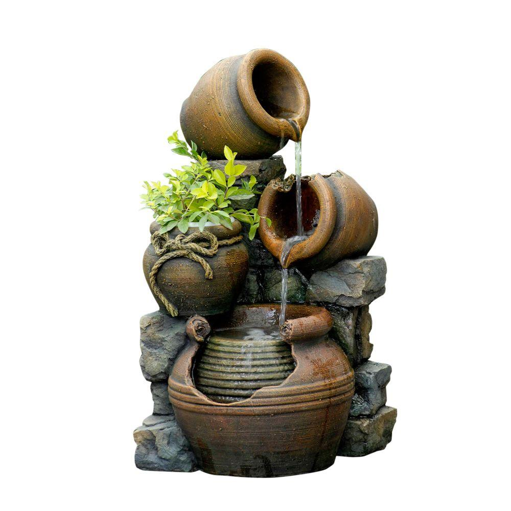 Fountain Cellar Multi Pots Outdoor Water Fountain with Flower Pot