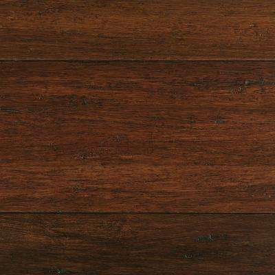 Take Home Sample - Hand Scraped Strand Woven Sahara Click Bamboo Flooring - 5 in. x 7 in.