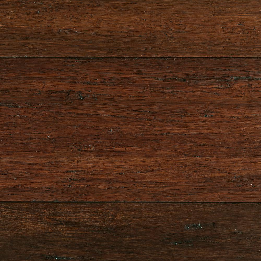 Take Home Sample - Hand Scraped Strand Woven Sahara Click Bamboo Flooring - 5 in. x 7 in.
