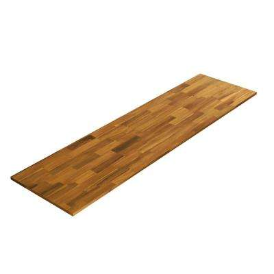 6 ft. L x 2 ft. 1.5 in. D x 1.5 in. T Butcher Block Countertop in Golden Teak Stained Acacia