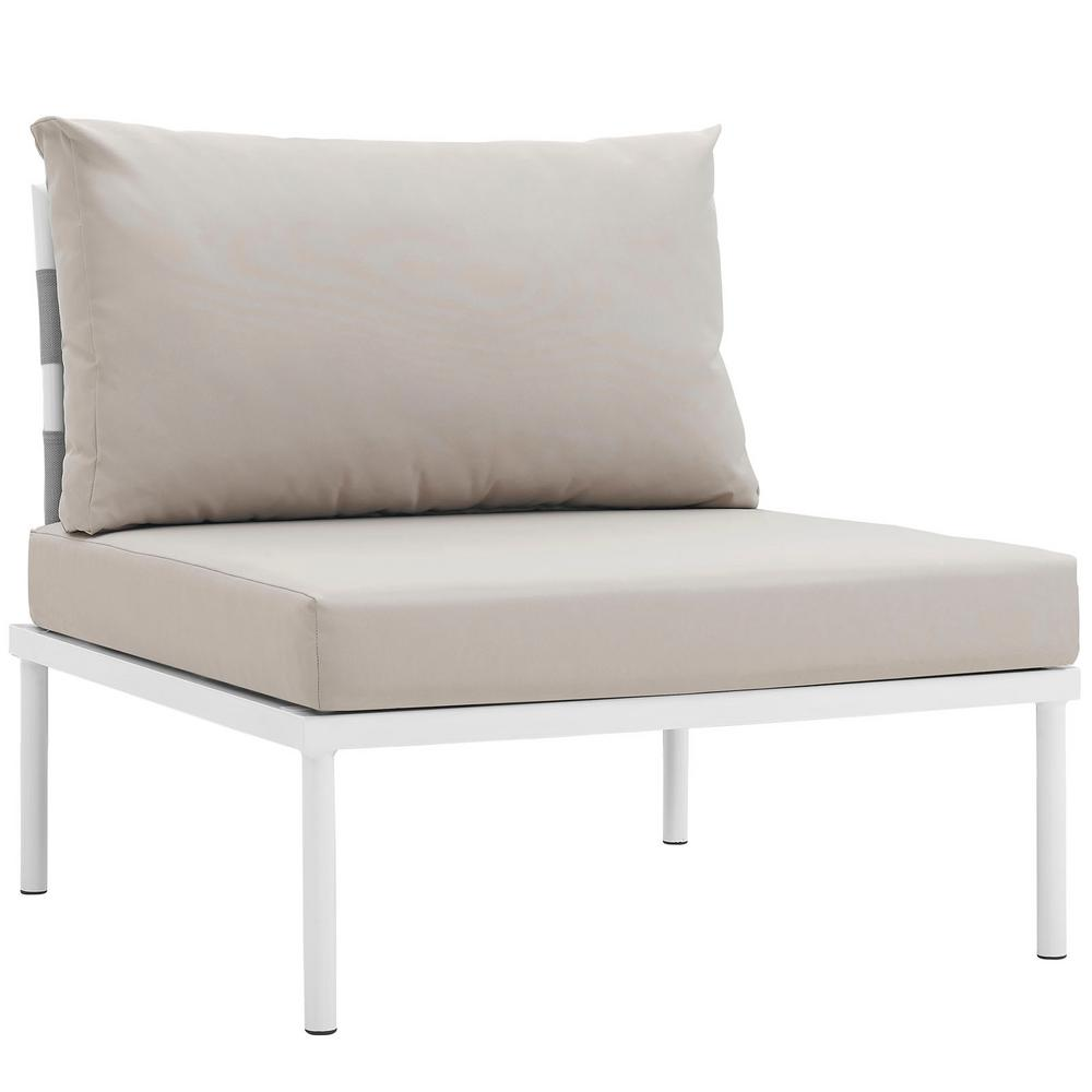 Amazing Modway Harmony Armless Aluminum Outdoor Patio Lounge Chair In White With Beige Cushions Caraccident5 Cool Chair Designs And Ideas Caraccident5Info