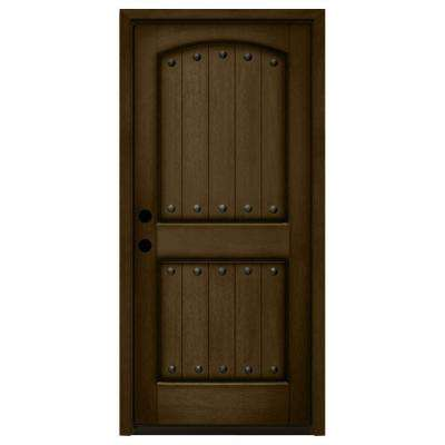 Rustic 2-Panel Plank Stained Mahogany Wood Prehung Front Door