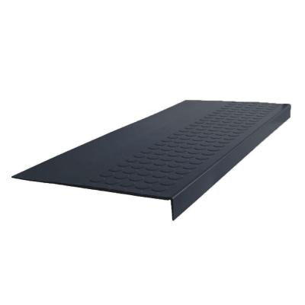 Vantage Profile Raised Circular Design W/O Riser Black 12 1/16 in. x 36 in. Rubber Square Nose Stair Tread