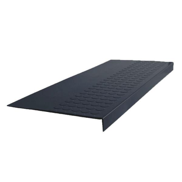 Roppe Low Profile Raised Circular Design Dark Gray 12 5 In X 48 In Rubber Square Nose Stair Tread 48923p150 The Home Depot