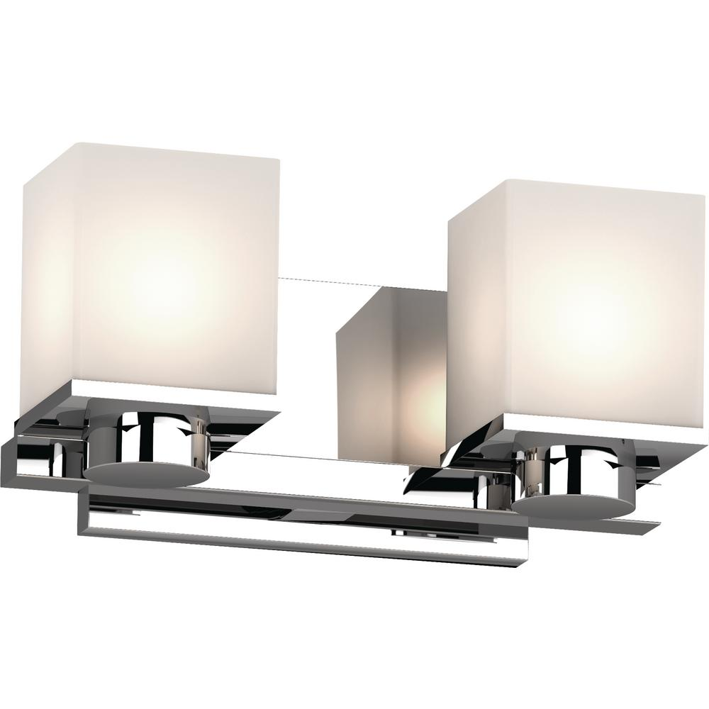 Volume Lighting Sharyn 2-Light 8 in. Chrome Indoor Bathroom Vanity Wall Sconce or Wall Mount with Frosted Glass Square Rectangle Shades