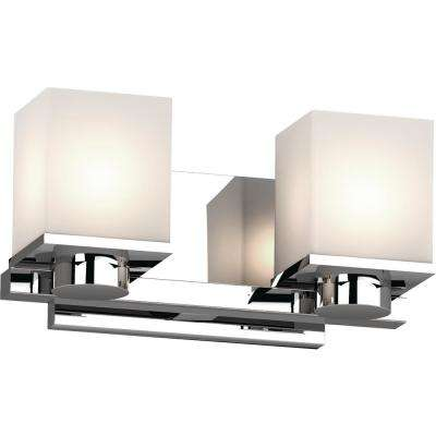 Sharyn 2-Light 8 in. Chrome Indoor Bathroom Vanity Wall Sconce or Wall Mount with Frosted Glass Square Rectangle Shades