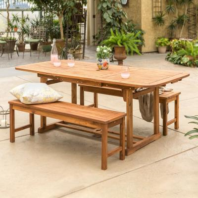 Walker Edison Furniture Company Brown 3-Piece Acacia Wood Outdoor Patio Dining Set