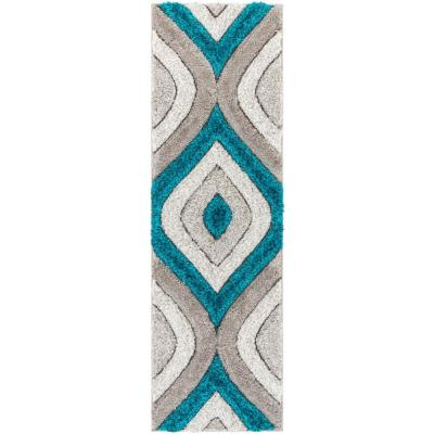 San Francisco Malibu Blue Modern Trellis Ogee 2 ft. 7 in. x 9 ft. 10 in. 3D Carved Shag Runner Rug