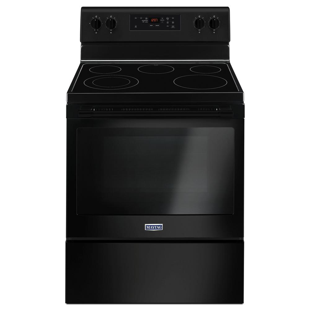 Maytag 5 3 Cu Ft Electric Range Shatter Resistant Cooktop In Black