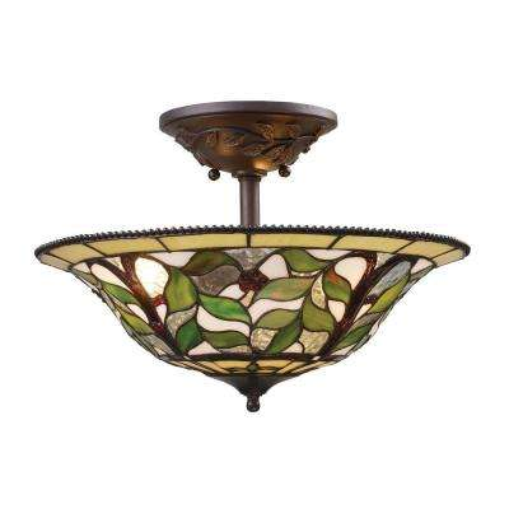 Latham 3-Light Tiffany Bronze Ceiling Semi-Flush Mount Light