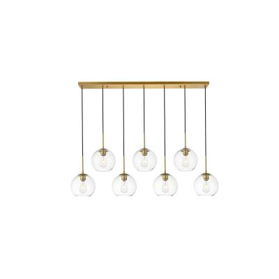 Timeless Home Blake 7-Light Brass Pendant with 7.9 in. W x 7.1 in. H Clear Glass Shade