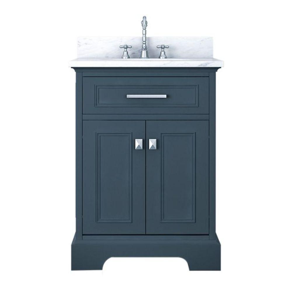 Alya Bath Yorkshire 25 in. W x 22 in. D Bath Vanity in Gray with Marble Vanity Top in White with White Basin