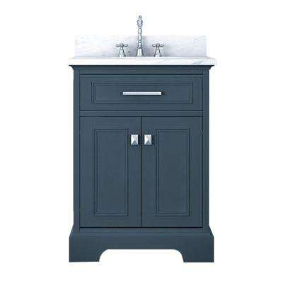 Yorkshire 25 in. W x 22 in. D Bath Vanity in Gray with Marble Vanity Top in White with White Basin