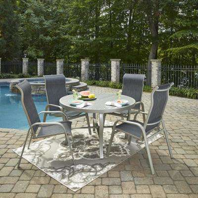 Homestyles Captiva Charcoal Gray 5 Piece Cast Aluminum Round Outdoor Dining Set 6700 3281 The Home Depot