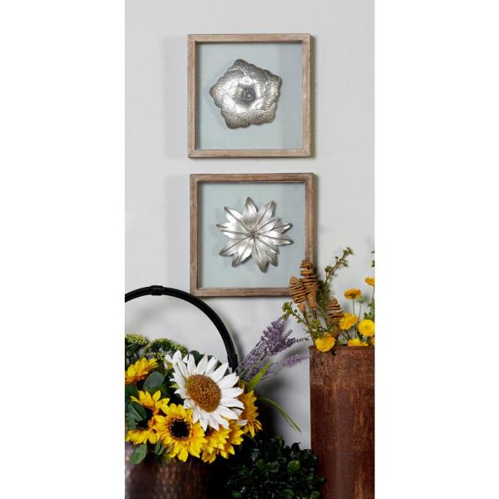 10 In X 10 In Silver Metal Flowers Framed Wooden Wall Art Set Of 3