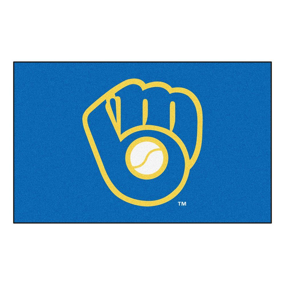 Fanmats Mlb Milwaukee Brewers Blue 5 Ft X 8 Ft Area Rug
