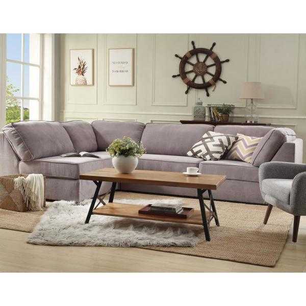 Harper Bright Designs 44 In Brown Black Large Rectangle Wood Coffee Table With Metal Legs Wf036984daa 1 The Home Depot
