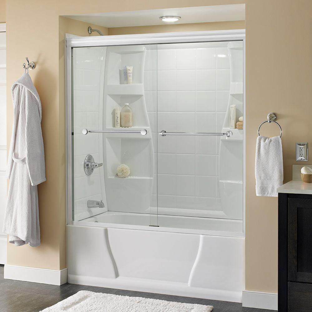 Delta Mandara 60 in. x 58-1/8 in. Semi-Frameless Sliding Bathtub Door in White with Chrome Handle and Clear Glass