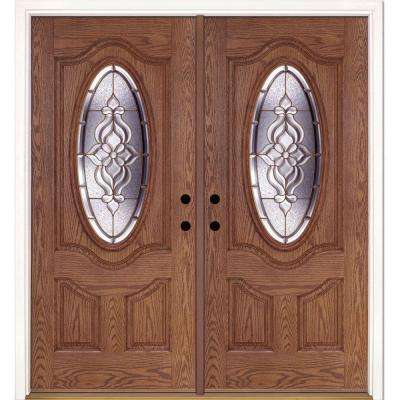 74 in. x 81.625 in. Lakewood Brass 3/4 Oval Lite Stained Medium Oak Left-Hand Fiberglass Double Prehung Front Door