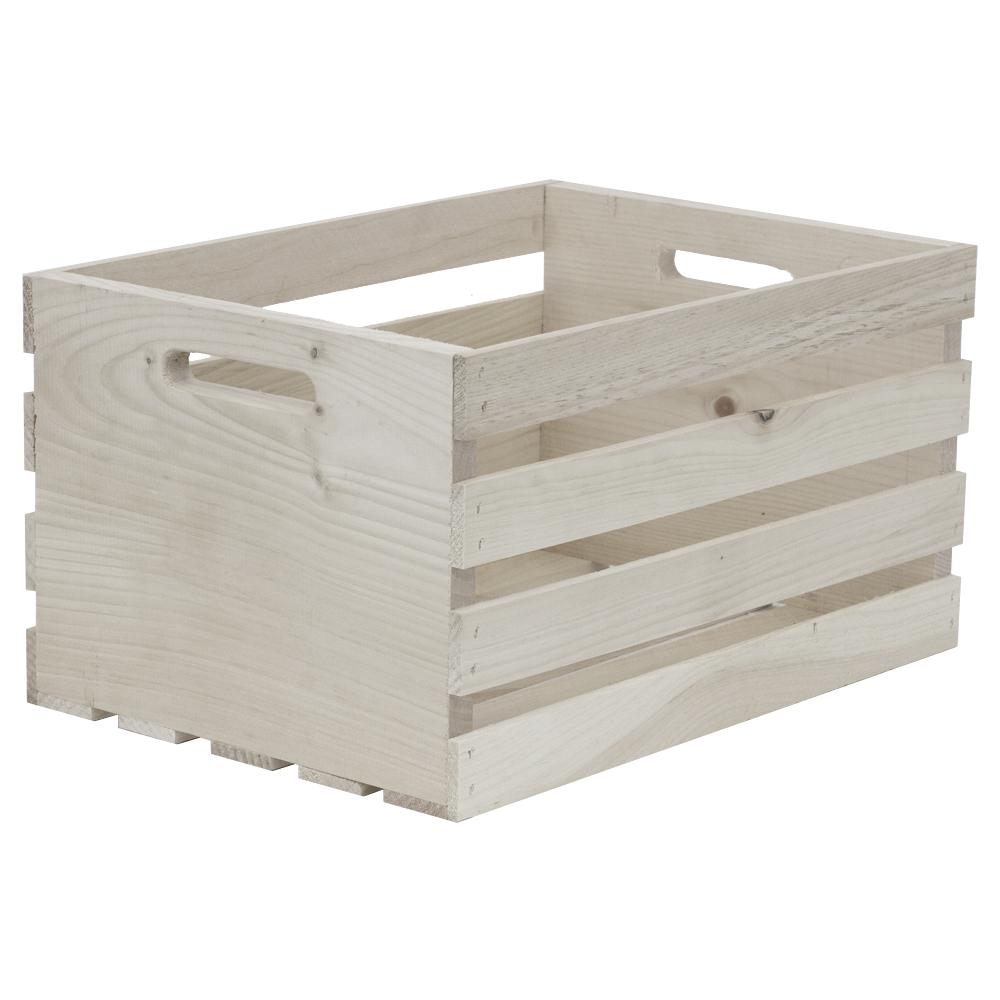 Crates & Pallet Large Washed Wood Crate in White