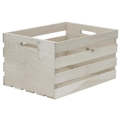 Large Washed Wood Crate in White
