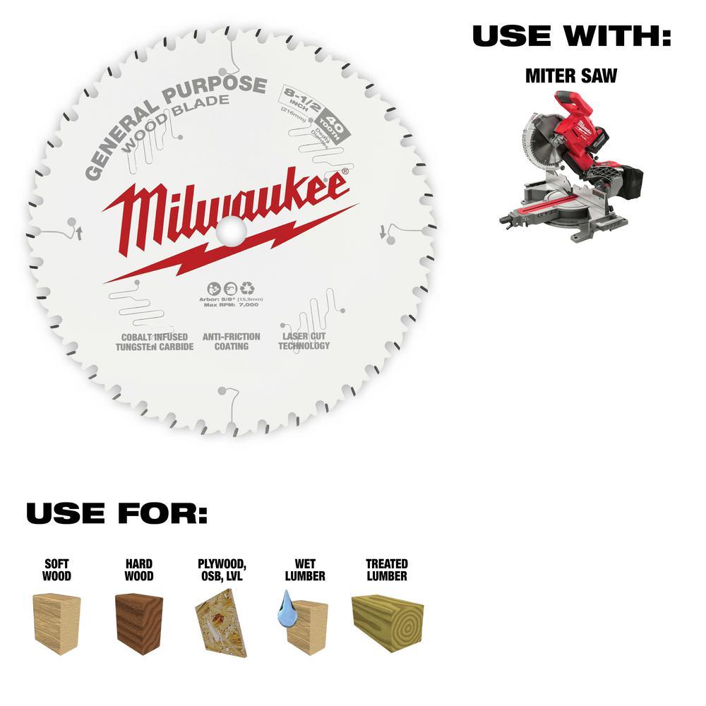 Milwaukee 8-1/2 in. x 40-Tooth General Purpose Circular Saw Blade