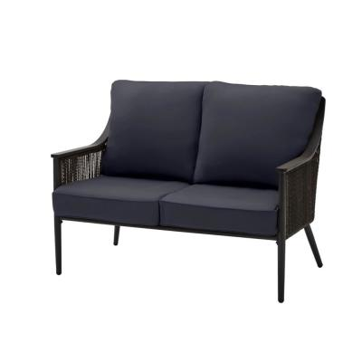 Bayhurst Black Wicker Outdoor Patio Loveseat with CushionGuard Midnight Navy Blue Cushions