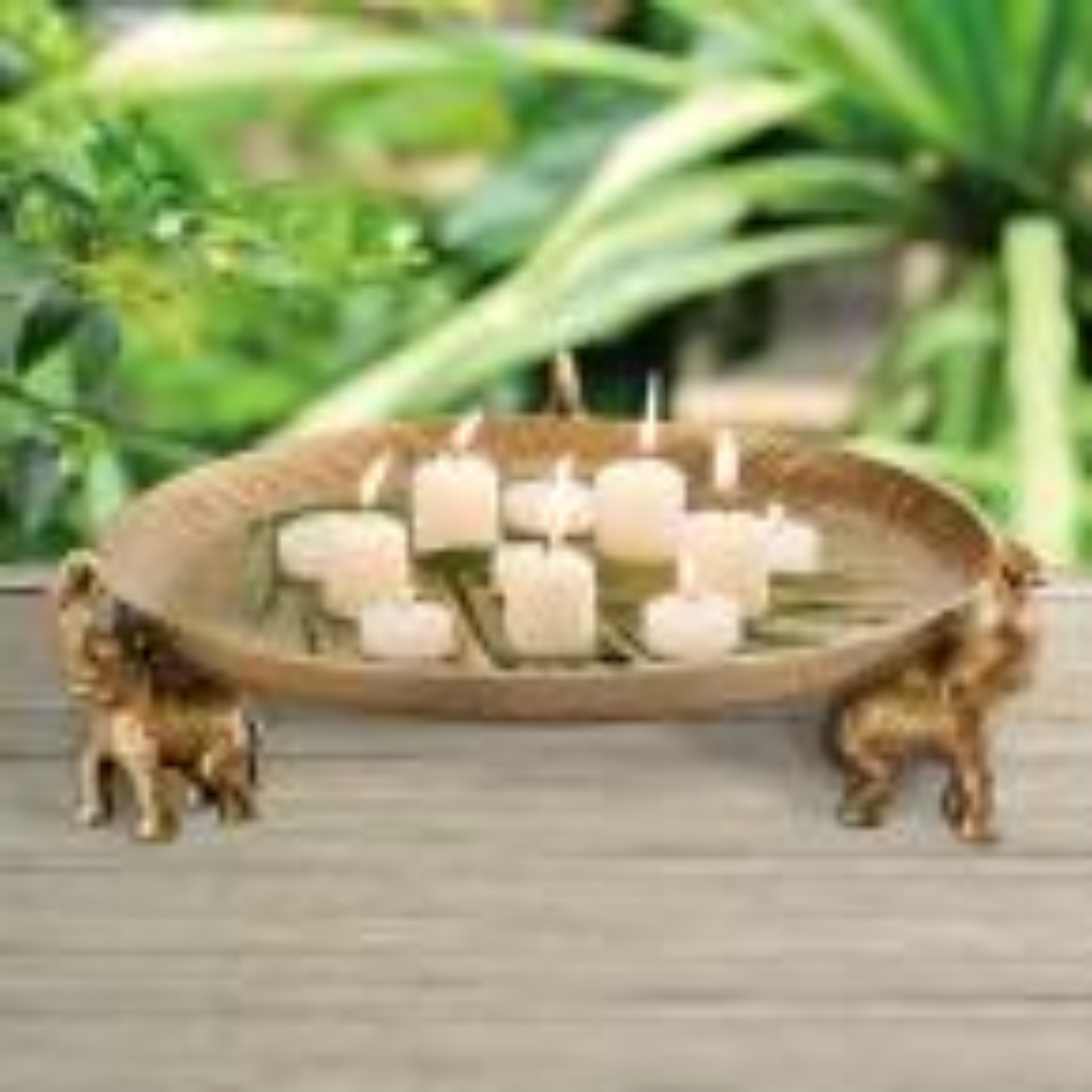 Gold Elephant Trio Decorative Tray