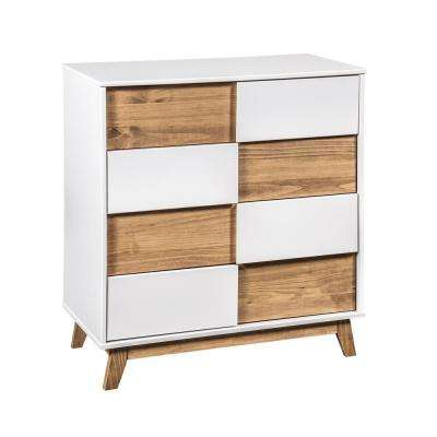 Livonia 2.0 31.49 in. Wide 4-Drawer White and Natural Wood Dresser