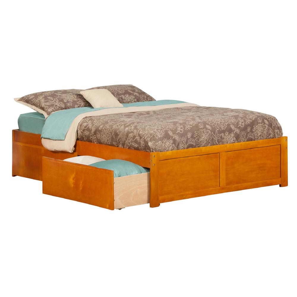 Atlantic Concord Caramel Full Platform Bed with Flat Pane...